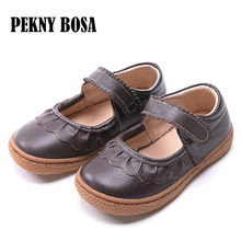Buy 2017 Genuine Leather shoes Autumn children casual shoes kids girls leather shoes female sneaker coffee brown shoes size22-34 directly from merchant!