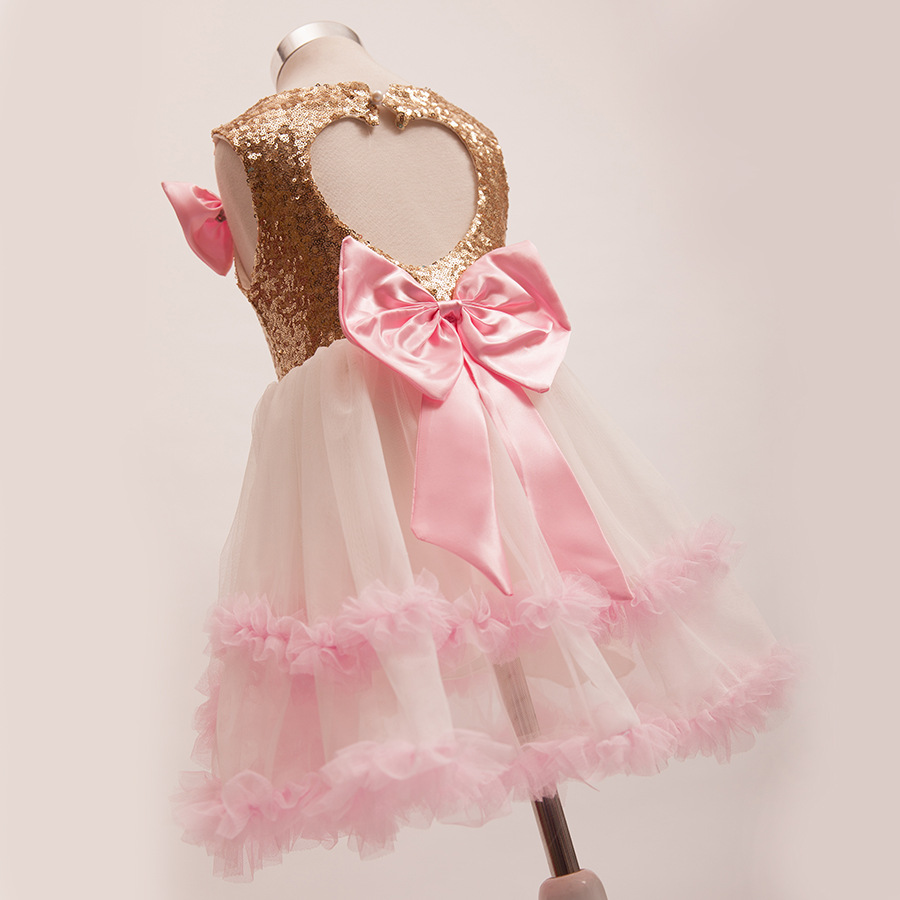 fa061afb33 2016 new back heart sharp gold sequin party dress with big bow sequin tulle  flower girls dresses-in Dresses from Mother   Kids on Aliexpress.com