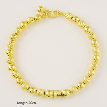 Women's Fashion Vintage Luxury 24K Pure Gold Color Wedding Bracelet Beads Chain Gold Plating Jewelry Gifts for Party Wholesales цена и фото