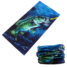 Multifunctional Head Scarf Bandanas Polyester Fish Print Neck Gaiter Magic Seamless Tube Bandana Cool Headband Motorcycle Hijab