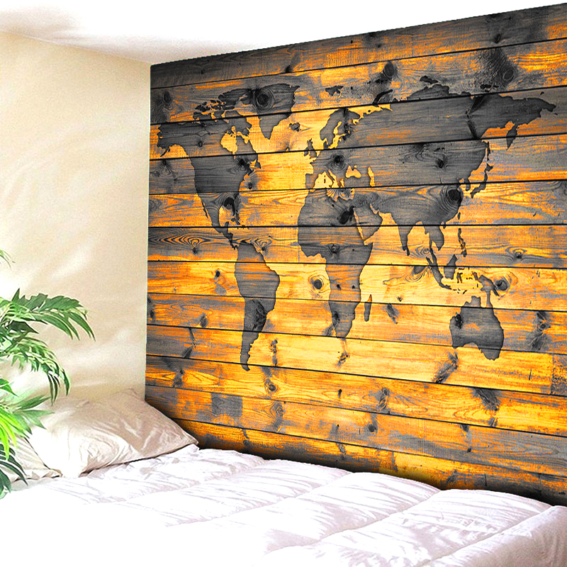 Hot Sale Wall Hanging Tapestry Fashion Retro Wood World Map Printed Tapestry Modern Home Decoration Yoga Mat Tapiz Beach towels ...