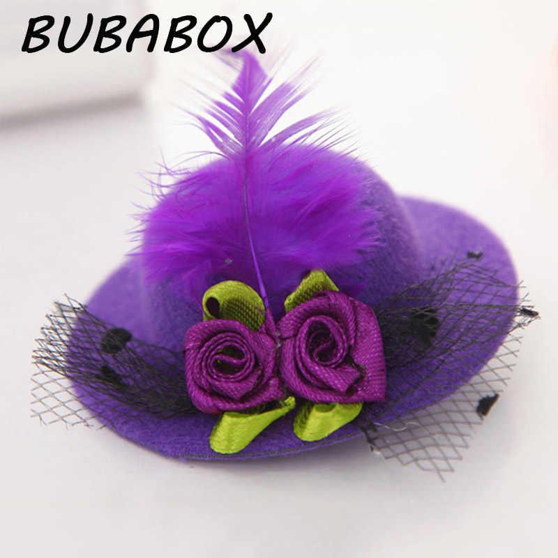 새로운 귀여운 모자 모양의 꽃 장식 소녀 깃털 모자 헤어 클립 어린이 헤어 액세서리 패션 헤어핀