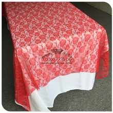Красная кружевная прямоугольная скатерть для свадебного банкета отельный Настольный чехол вечерние принадлежности домашний текстиль