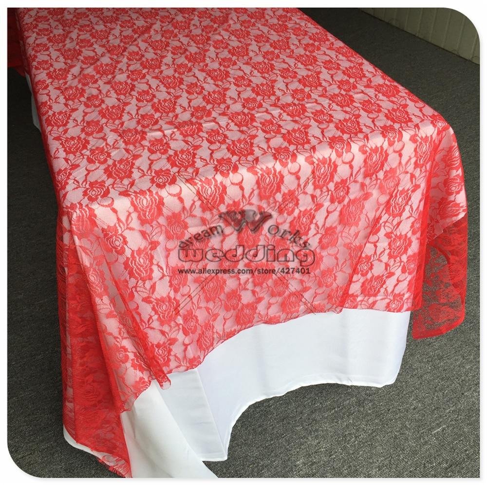 Црвена боја чипка столњак Правокутни - Кућни текстил
