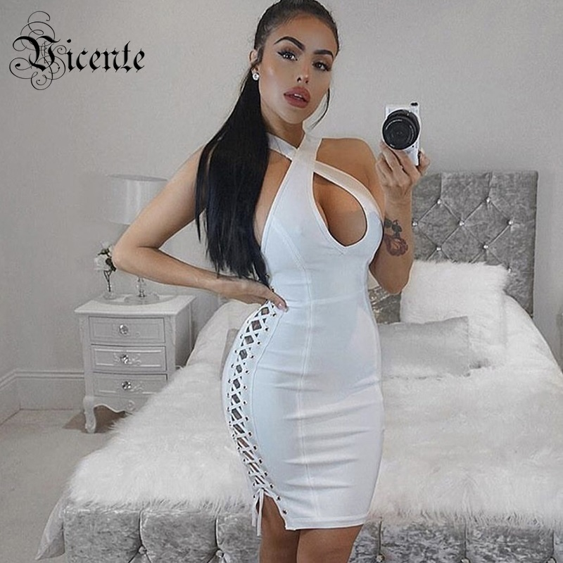New Chic White Vneck Side Lace Up Cross Criss Party Dress