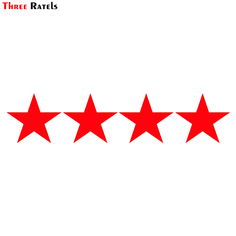 Three Ratels TZ-1176 10*44.2cm 1-2 Pieces Car Sticker 4 Red Stars Each Size 10*10.9cm  Funny Car Stickers Auto Decals