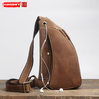Men's genuine leather chest bag retro Messenger bag handmade personality crazy horse leather chest bag casual sports small bag
