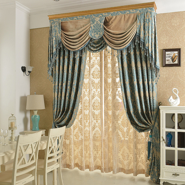New Arrival Chenille Soft Material Jacquard Embroidery Valance Draped Blind Drapes Curtain Cortina Curtains For Living