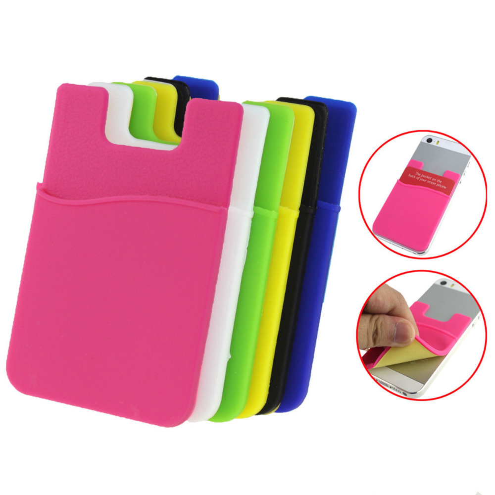 Fashion Adhesive Sticker Back Cover Card Holder Case Pouch For Cell Phone 2017 Hot Sale colorful card holder