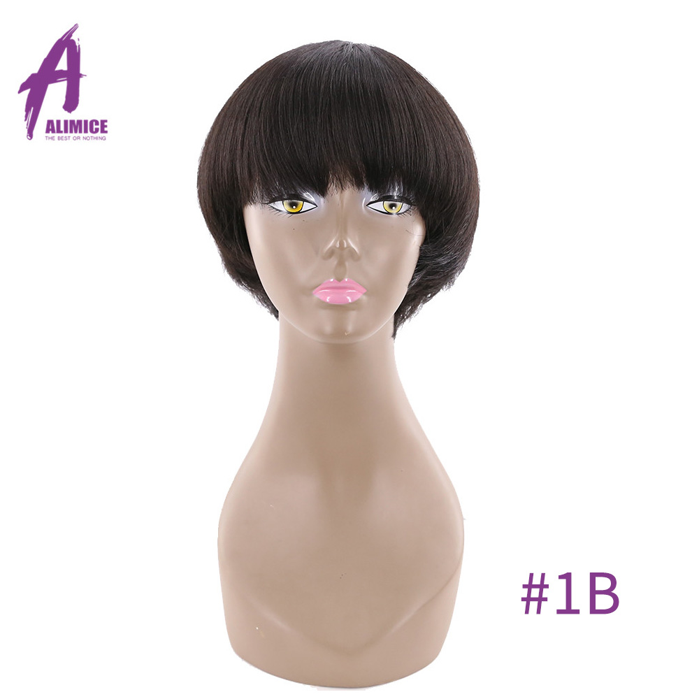 Wigs Bang Hair Alimice Short Bob Straight Color Brazilian with for Women -1b/2/-4 8-Inch