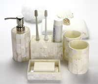 Fashion European 5PCS Shell Toilet Ceramic Bathroom Accessaries Set Toothbrush Holder Soap Dish Lotion Dispenser With TrayLFB293