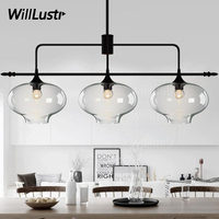 Willlustr Modern Glass Pendant Light Suspension Lamp Mouth Blown Clear Glass Lighting Hanging Lights Dinning Room
