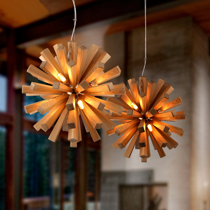 Creative personality chandelier art lighting cafe Bar restaurant living room bedroom lamp solid wood craft chandeliers contemporary and contracted creative personality retro art glass chandelier cafe restaurant study lamps act the role of milan