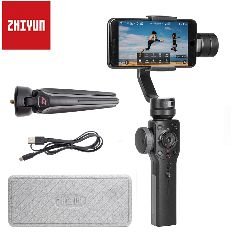 Zhiyun Smooth 4 3-Axis Handheld Gimbal Portable Stabilizer for iPhone X 8Plus 8 7Plus 7 6S S9 S8 S7 Action Camera Vertical Shoot