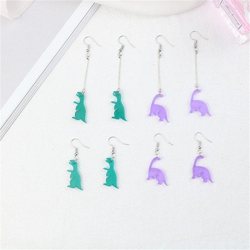Cute Acrylic Dinosaur Animal Cartoon Woman Girls Hook Clips Dangle Drop Earrings Fashion Jewelry Bijoux Wholesale-LAF