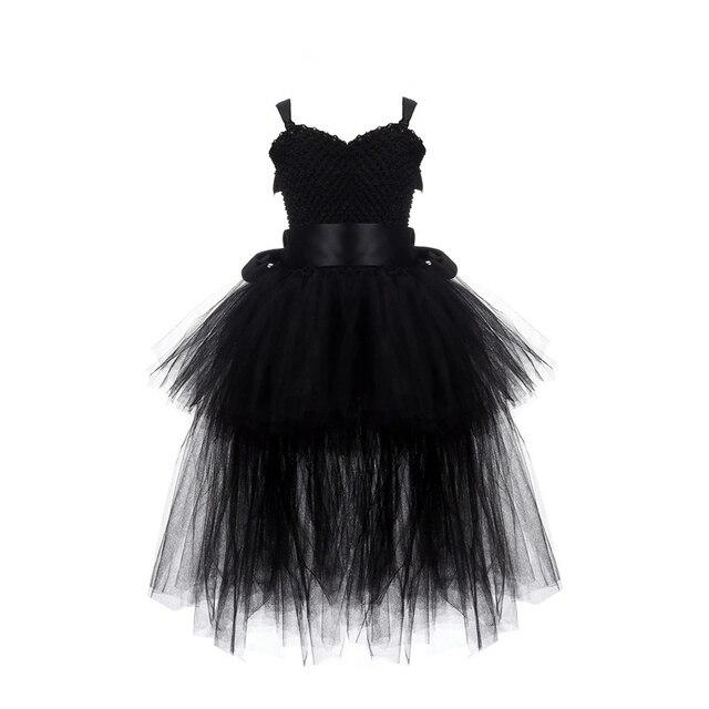 Black Girls Tutu Dress Tulle V-neck Train Girl Evening Birthday Party Dresses Kids Girl Ball Gown Dress Halloween Costume 2-8Y 1