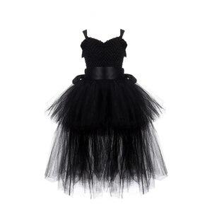 Image 2 - Robe Tutu pour filles noires, robe en Tulle avec col en v, robe de soirée pour fête anniversaire, Costume dhalloween, 1 14 ans
