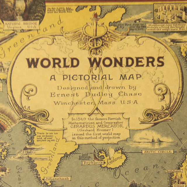 Online Shop Vintage World Map Great Building Kraft Paper Poster Wall ...