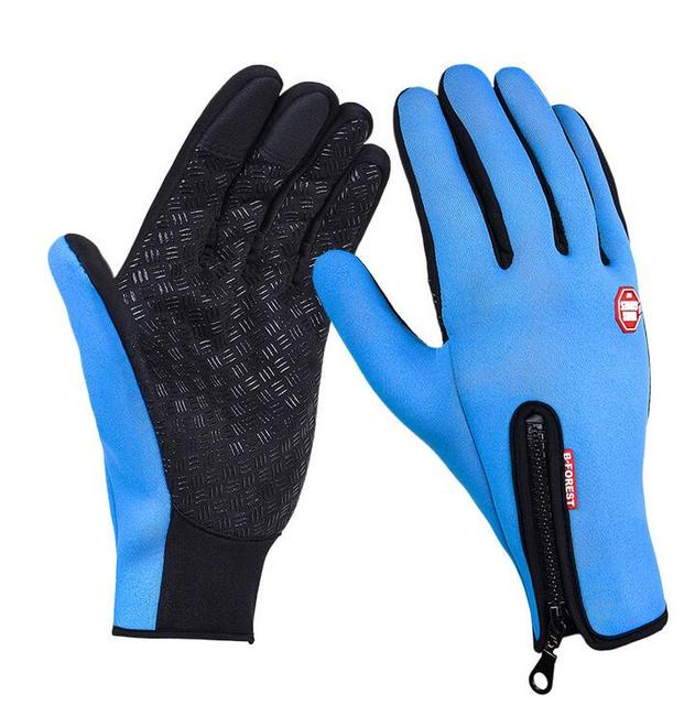 Black Winter Warm Gloves Windproof Cold Weather Gloves Thick Warm Mittens Touch Screen Gloves with Anti-slip Design