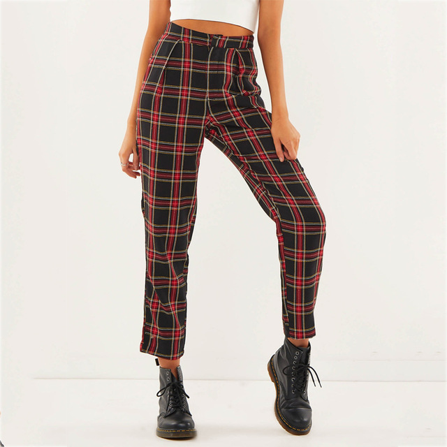 Spring Women's Wear Loose Trousers Cotton Mid Waist Sweet Plaid Ladies Casual Pants