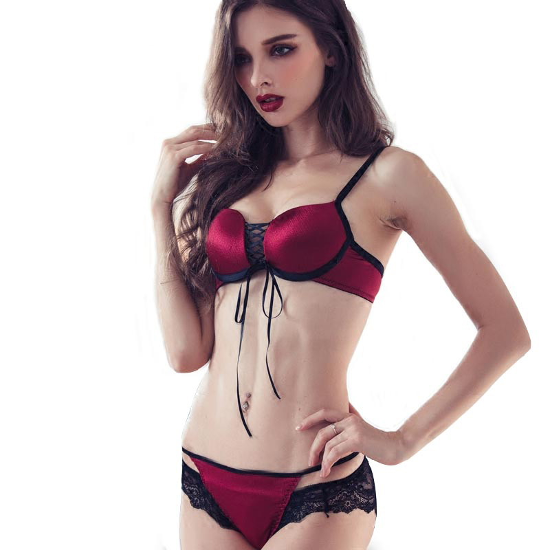 Sexy Mousse Womens Sexy Bra Brief Sets Leopard Brassiere Lace-up Lingerie Push-up Bra and Panties Set Black Purple Female