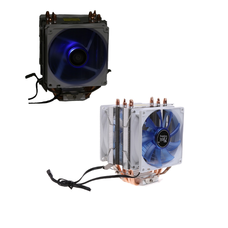 Cooler Fan 12V Dual CPU Cooler Blue LED 3Pin Fan Aluminum Heatsink For Intel LGA775 For AMD AM3 3pin 12v cpu cooling cooler copper and aluminum 110w heat pipe heatsink fan for intel lga1150 amd computer cooler cooling fan