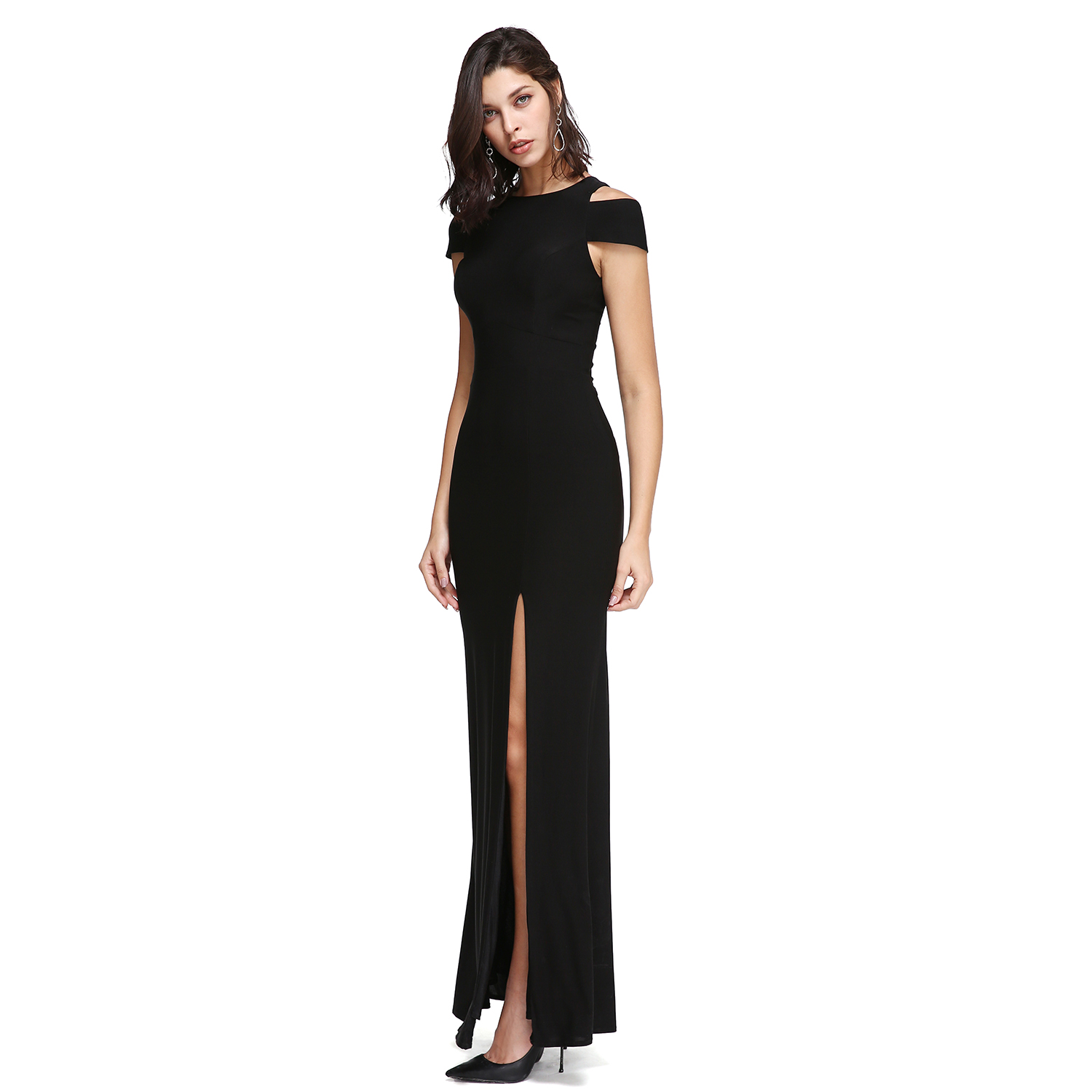 TS Couture Sheath Column Off the shoulder Ankle Length Jersey Prom Formal  Evening Dress with Split Front Party Gowns-in Prom Dresses from Weddings    Events ... 1739d073a59b