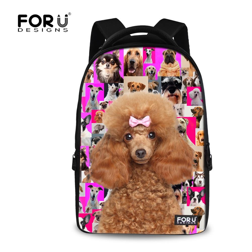 ФОТО Children School Backpack for Teenager Girls Laptop Backpack Poodle Pug Dog Animal Print College Student Travel Backbag Mochila