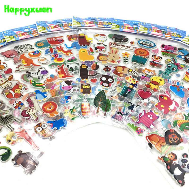 Happyxuan 12 Sheets Cute 3D Kids Puffy Stickers Scrapbooking Cartoon Farm Animals Kindergarten School Teacher Reward Toys Child