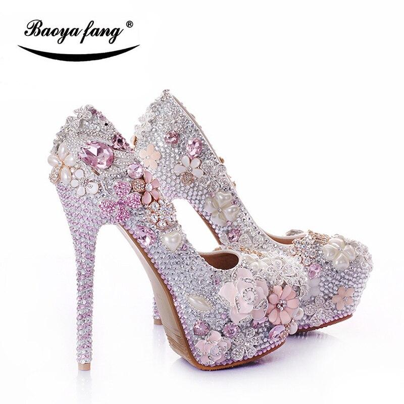 a0b59e2ad BaoYaFang Prata/Rosa Cisne Das Mulheres sapatos de Casamento Da Noiva 12  cm/14 cm de salto Alto sapatos de plataforma sapatos femininos vestido moda  mulher ...
