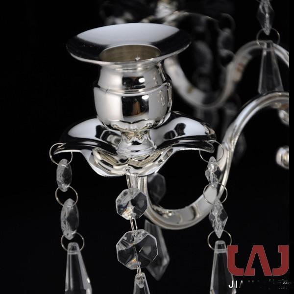 H50cm metal kristal dekorativ gümüş 5 qollu şamdan şamdan - Ev dekoru - Fotoqrafiya 5