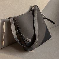 TINTON 2018 Ladies Fashion Frosted Handbag Bag Ladies Personality Oblique Bucket Bag Lady Leather Handbag Simple