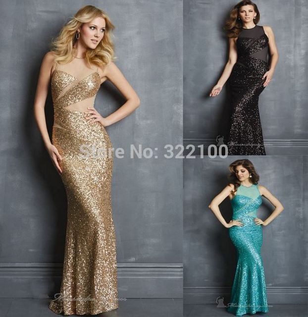 See through Gold Prom Dresses