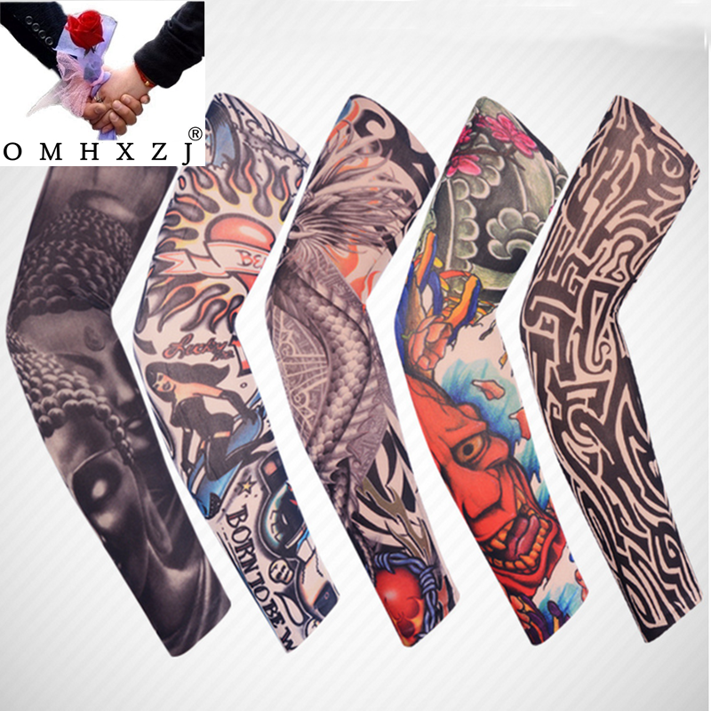 OMH Wholesale Fashion Outdoor Sun Bike Cycling Tattoos Big Arm Seamless Fishing Long Sleeve Tattoo Gloves Arm Warmers ST04