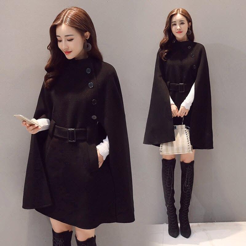 Осень Зима Женское шерстяное пальто новая мода Половина Водолазка однобортная Женская куртка плащ Свободное пальто LQ278 - Цвет: black