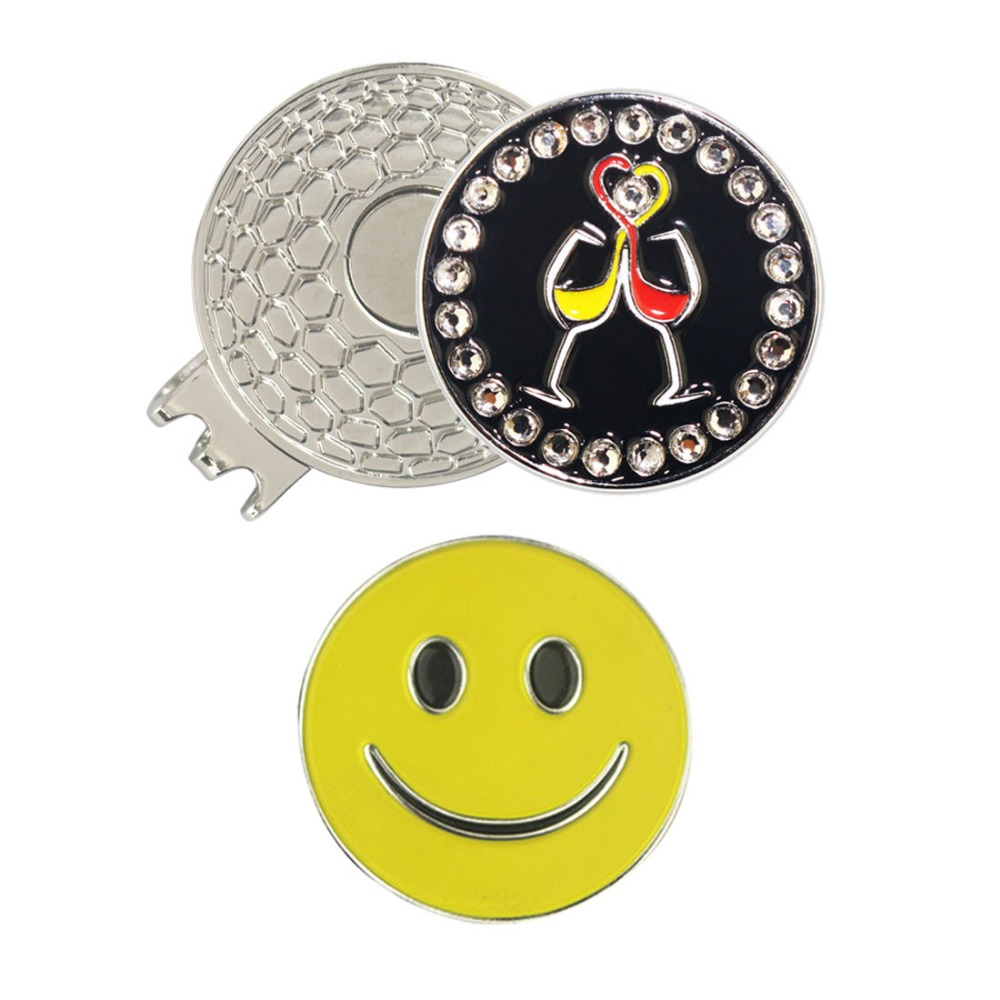 PINMEI Golf Ball Mark Magnetic Hat Clip Sets 1pcs Crystal Cheering Golf Marker And 1pc Smiling Face Marker And 1pc Cap Clip Sets