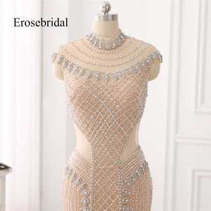 Image 3 - High Collar 2019 Mermaid Evening Dress Beaded Long Evening Gown Sexy Beading Illusion Back robe de soiree In Stock