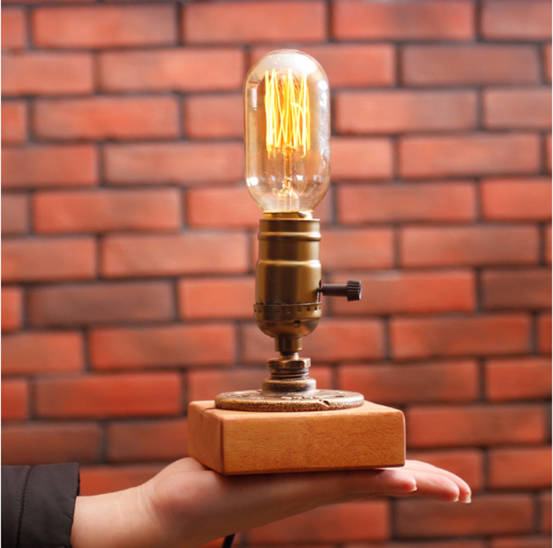 T Creative Simple Warm Table Lamps Retro Creative American Style Lighting For Bedroom Foyer Hotel With Edison Bulb