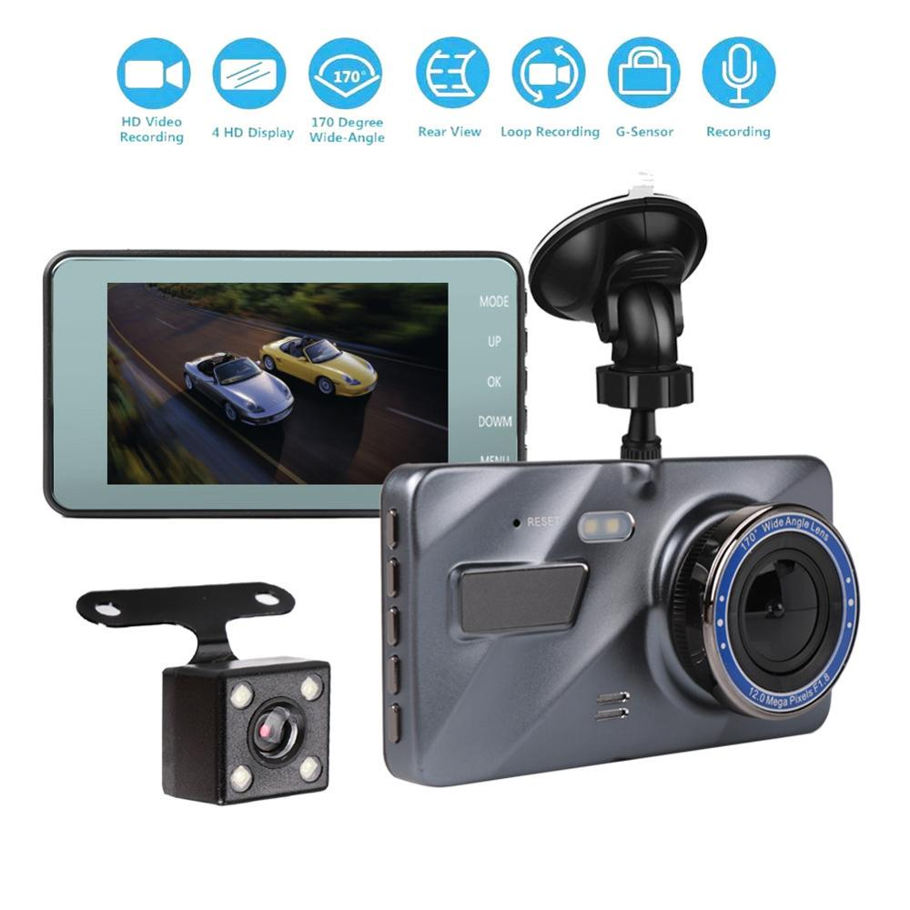 Dual Lens Camera HD Car DVR Dash Cam Video Recorder G-Sensor Night Vision 4 Inch