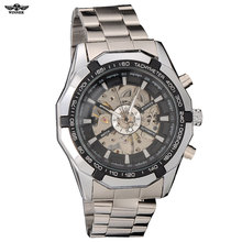 2016 Winner brand Luxury Sport men's Automatic Skeleton Mechanical Military fashion casual Watch Men Silver full Steel Band