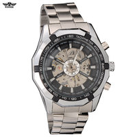 Wholesale New Luxury Sport Automatic Skeleton Mechanical Military Watch Men Silver Steel Band Freeship