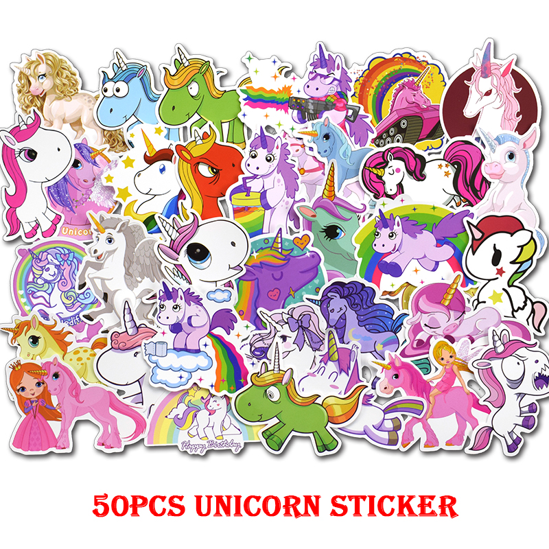 50Pcs/Lot Lovely Cute Unicorn Stickers Kids Toy Girls Sticker Pack For DIY Skateboard Luggage Laptop Car Waterproof Decals Gift