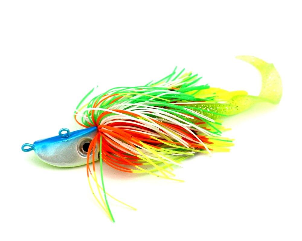 10pcs/lot 40g mixing colors Bigger Lead Head Hook with soft bait Jig Head Hook Soft Bait Lead Fishing Tackle Accessories