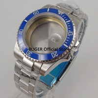 Solide 43mm Blau Keramik Lünette 316L Edelstahl Uhr Fall + Edelstahl Band Fit Für ETA 2836 Automatische bewegung C26-in Zifferblätter aus Uhren bei