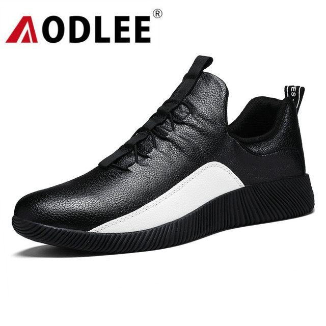 AODLEE Spring Leather Shoes Men Sneakers Casual Shoes Breathable Slip on Fashion Loafers Men Shoes Casual zapatos de hombre