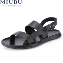 MIUBU Genuine Leather Men Sandals Shoes Fretwork Breathable Fisherman Style Retro Fashion Summer