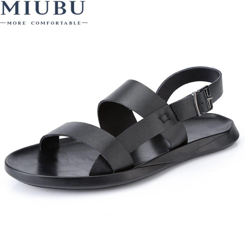 MIUBU Genuine Leather Men Sandals Shoes Fretwork Breathable Fisherman Shoes Style Retro Fashion Summer Men Shoes