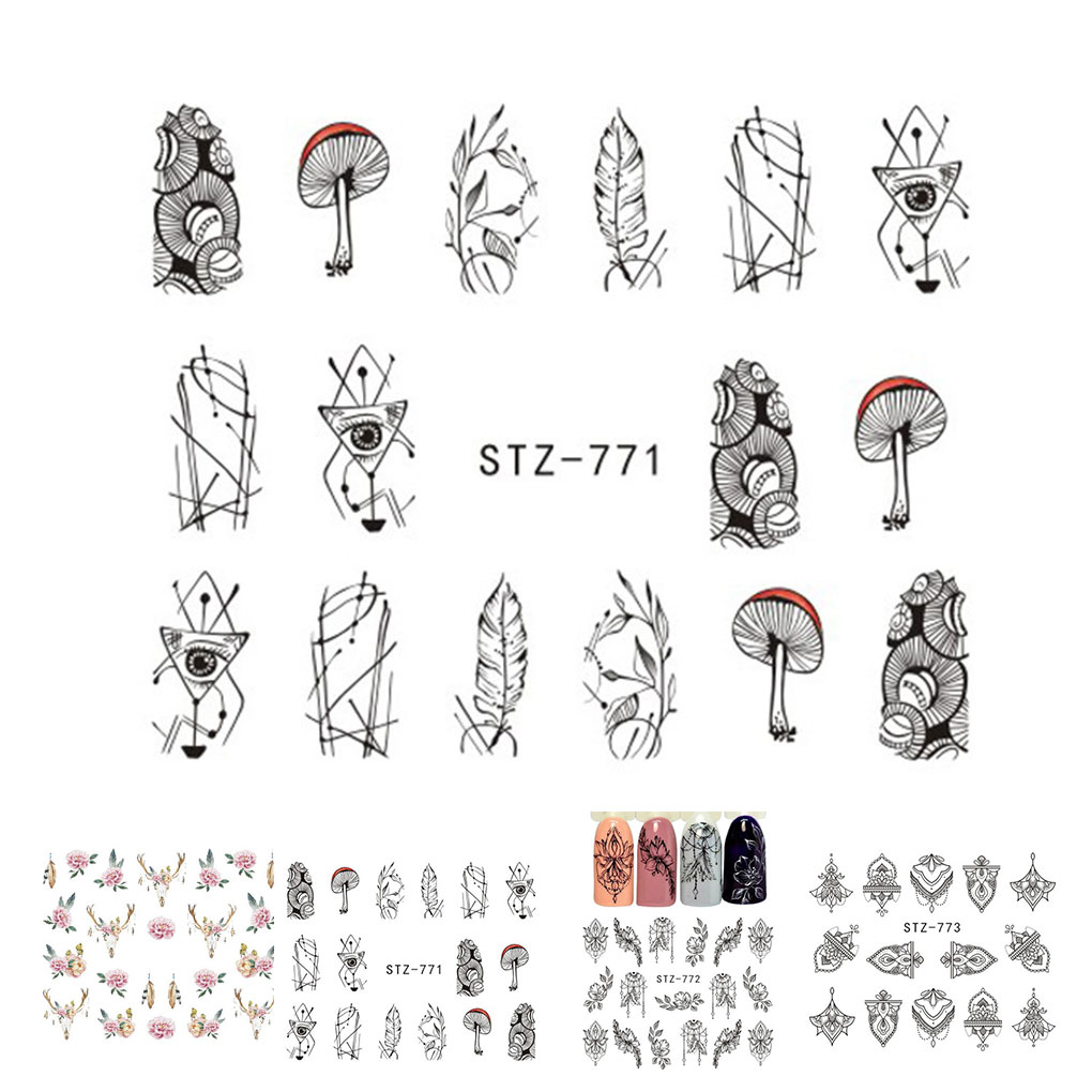 2019 Hot Sale Women Girls Flower Nail Sticker Mushroom Retro Nails Art Decor Decal DIY Nail Manicure Wrap Accessories