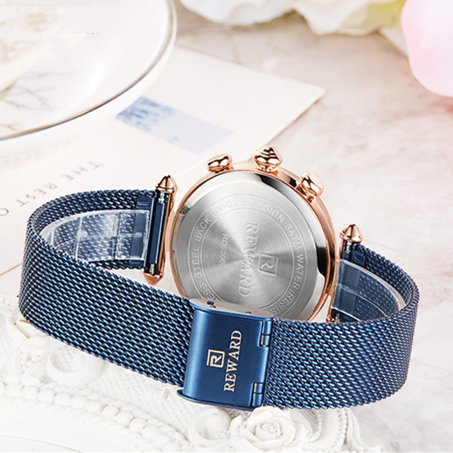 REWARD Chronograph Women 39 s Bracelet Watches Fashion Quartz Watch Ladies Stainless Steel Mesh Casual Waterproof Dress Wristwatch in Women 39 s Watches from Watches