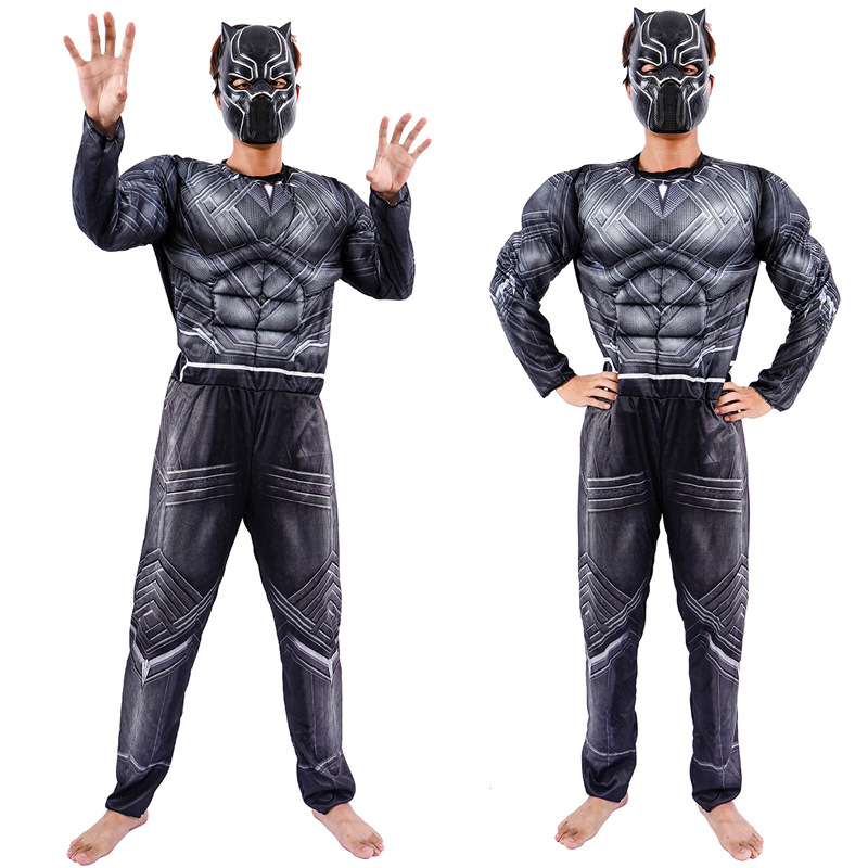 Black Panther T'Challa Wakanda King Costume Jumpsuit Kids Men Halloween Costume Captain America Civil War Movie SuperHero Suit image